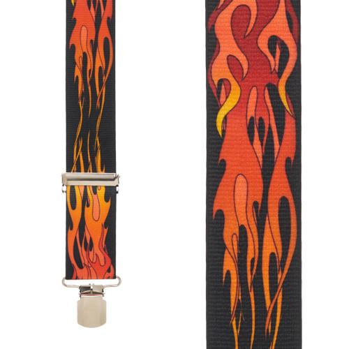 Orange Flames Suspenders Front View