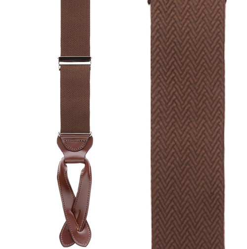 Brown Herringbone Silk Suspenders - Front View