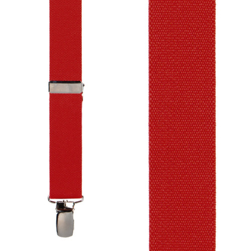 1 Inch Wide Clip X-Back Suspenders in Red - Front View