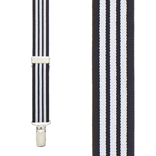 Black & White Striped Suspenders - Front View