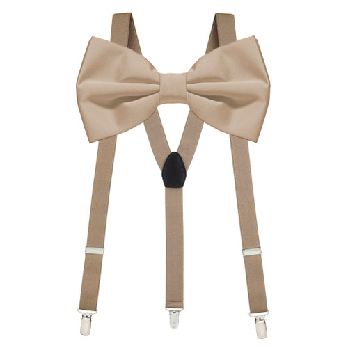 Bow Tie and Suspenders Set in Taupe
