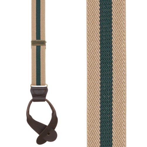 Striped Suspenders in Tan & Hunter Green - Front View