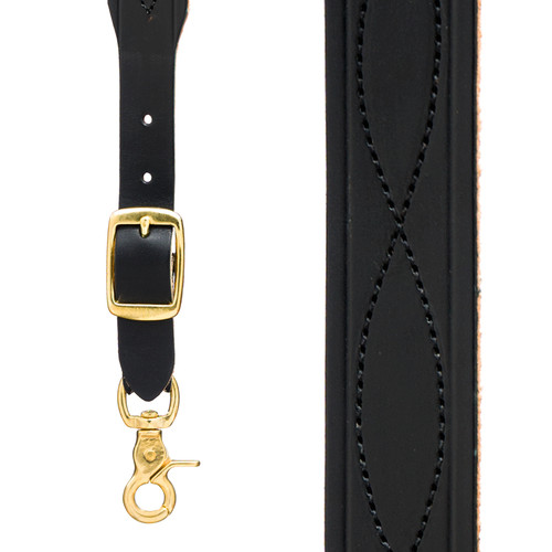 Chain Stitched Handcrafted Western Leather Suspenders - BLACK - Front View