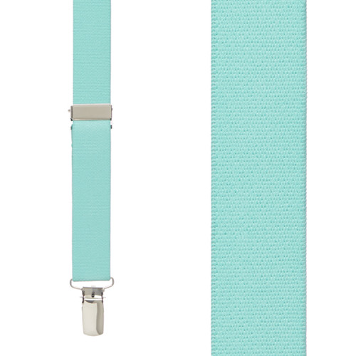 1 Inch Wide Clip X-Back Suspenders in Mint - Front View