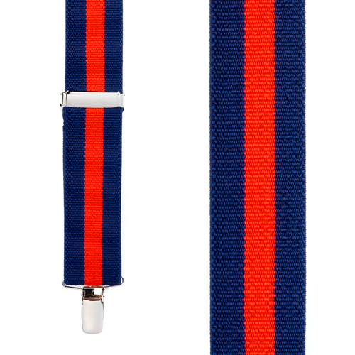 Front View - Navy/Red Striped Clip Suspenders - 1.5 Inch Wide
