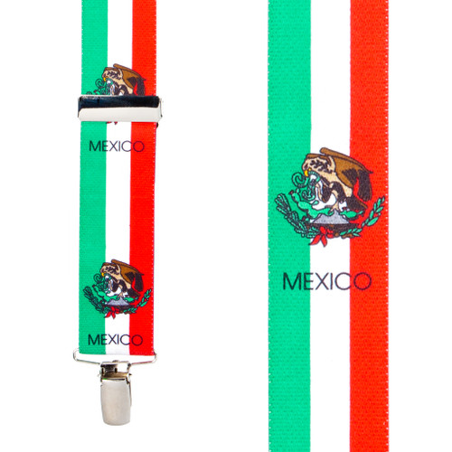 Mexican Flag Suspenders - Front View