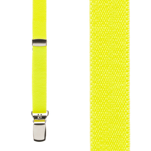 Skinny Suspenders in Neon Yellow - Front View