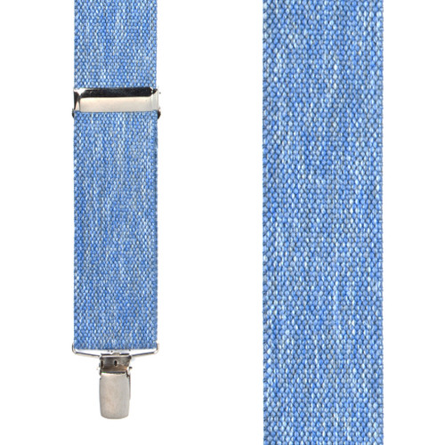 Front View - Denim Suspenders - 1.5 Inch Wide Clip
