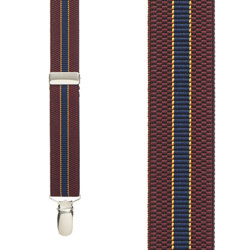Striped Suspenders in Burgundy & Navy - Front View