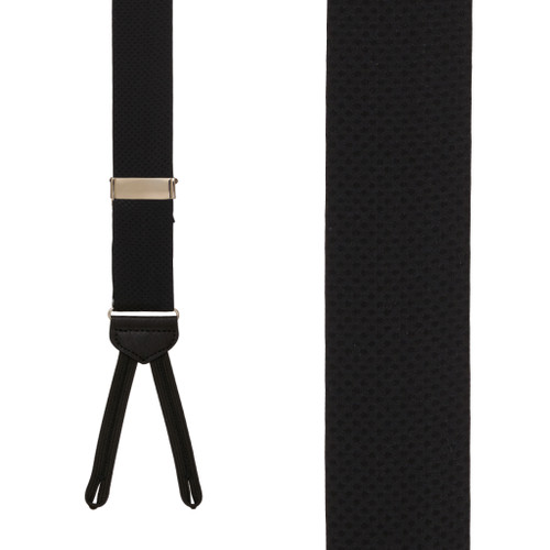 Jacquard Silk BLACK Pin Dot Suspenders - Runner End - Front View