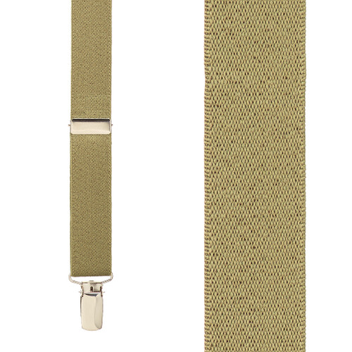 1 Inch Wide Clip X-Back Suspenders in Tan - Front View