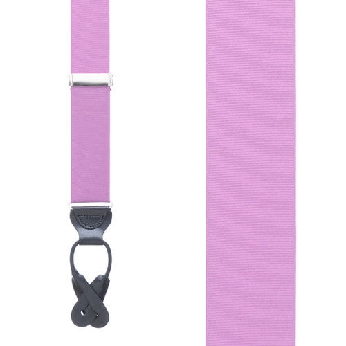 Grosgrain Button Suspenders in Lavender - Front View