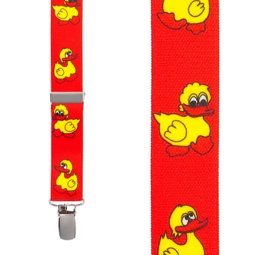 Duckies Suspenders in Red - Front View