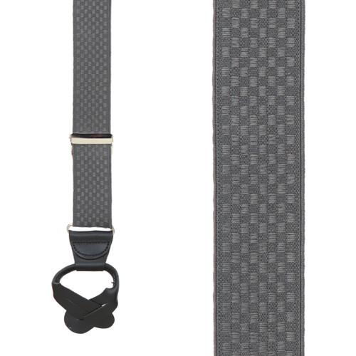 Jacquard Checkered Button Suspender in Grey - Front View
