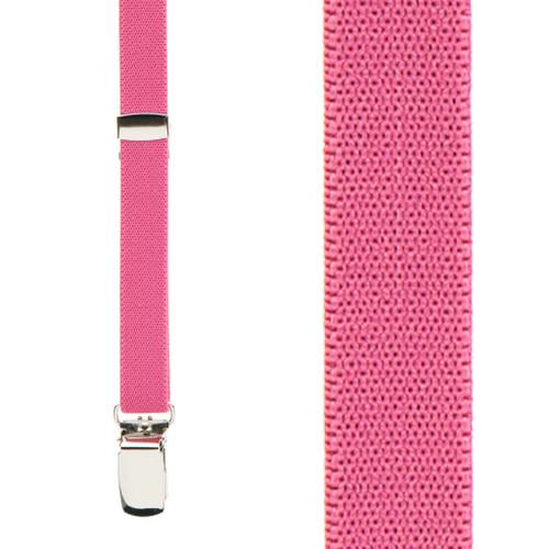 Skinny Suspenders in Dark Pink - Front View