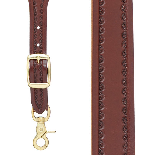 Border Stamped 1 Inch Wide Western Leather Suspenders in Brown - Front View