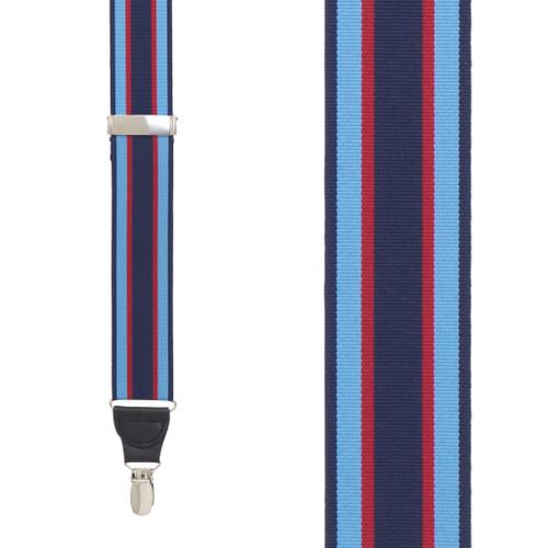 Grosgrain Clip Suspenders - Navy Sky Red Stripe Front View