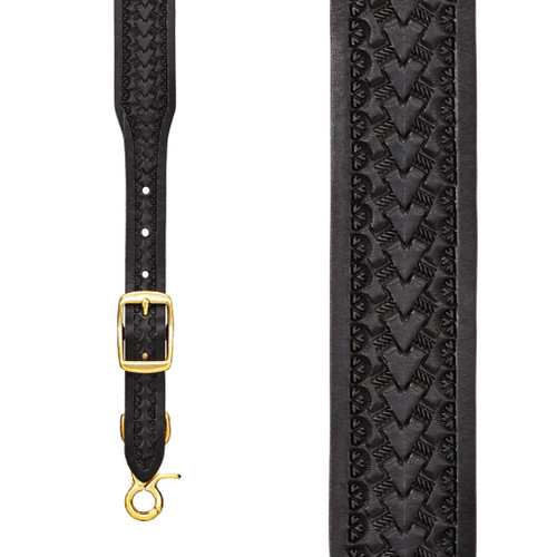 Basket Stamped 1.5 Inch Wide Western Leather Suspenders - BLACK