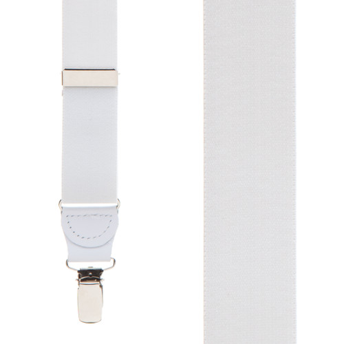 1.25 Inch Wide Y-Back Clip Suspenders in White - Front View