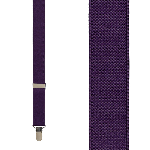1 Inch Wide Clip Y-Back Suspenders in Plum - Front View