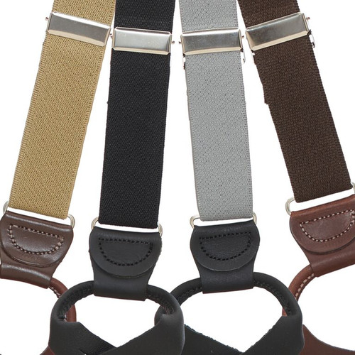 1 Inch Wide Solid Color Kids Button Suspenders -All Colors