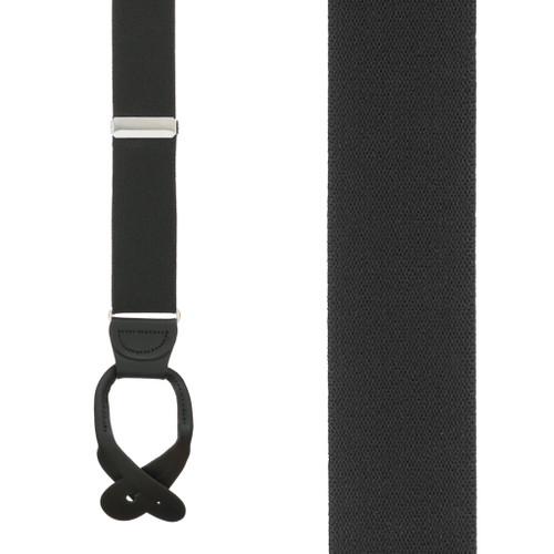 1.5 Inch Wide Button Suspenders in Black - Front View