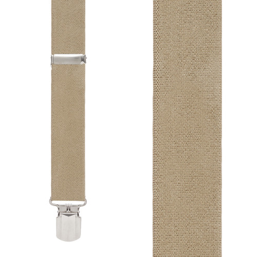1.5 Inch Wide Pin Clip Suspenders in Tan - Front View