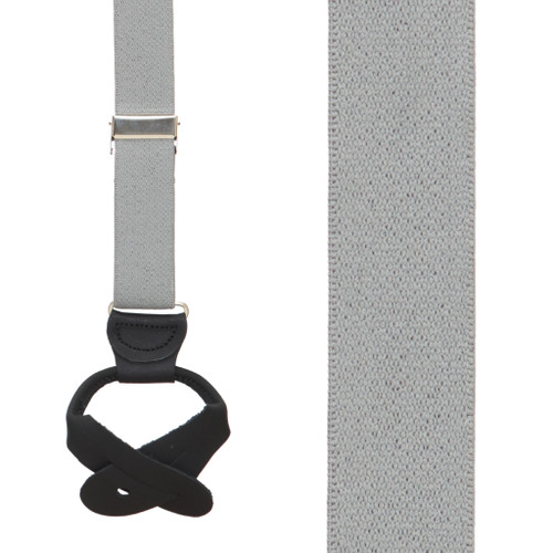 1-Inch Wide Button Suspenders in Light Grey - Front View