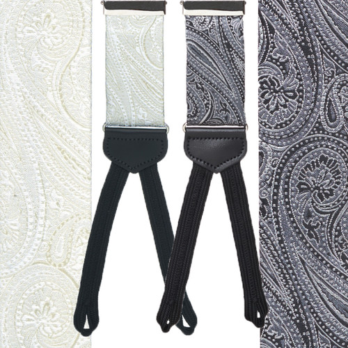 Formal Paisley Silk Suspenders - Runner End - Front View - All Colors