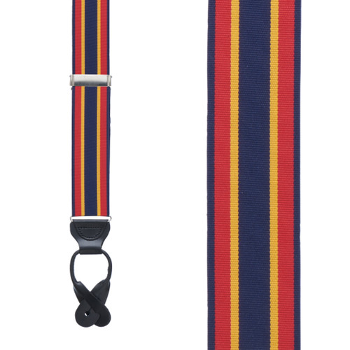 Grosgrain Button Suspenders - Red Yellow Navy Stripe Front View