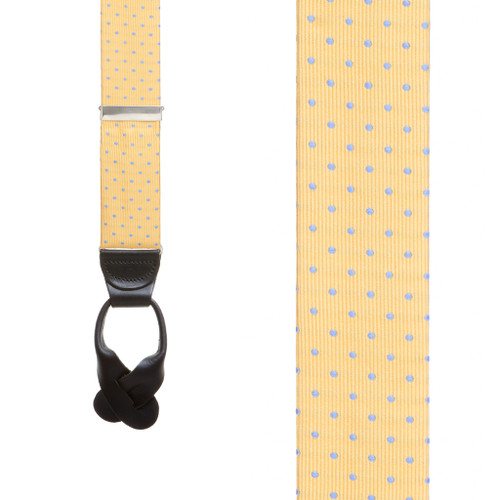 Polka Dot Silk Suspenders - Yellow with Light Blue Polka Dots - Front View