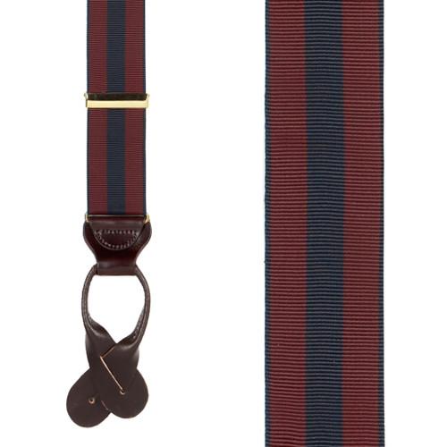 Burgundy/Navy Striped Grosgrain Suspenders - Front View