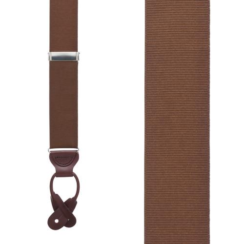 Grosgrain Button Suspenders - Brown Front View