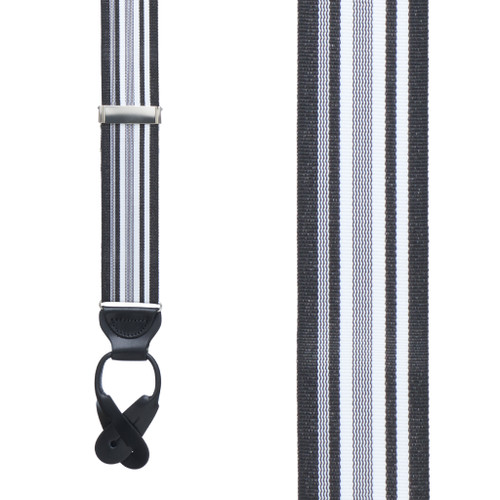 Grosgrain Button Suspenders - Black and White Stripe Front View