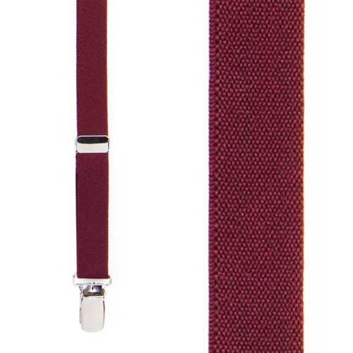 Thin Matte Suspenders in Burgundy - Front View