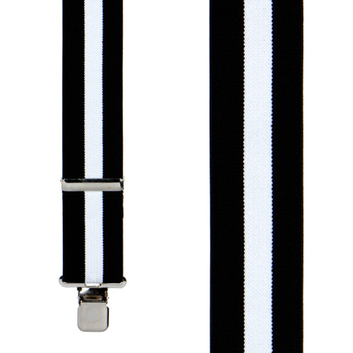Classic Suspenders - Front View - Black & White Stripe