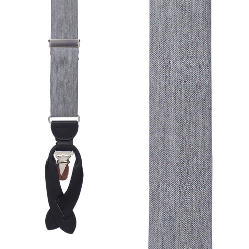 Salerno Grey Silk Herringbone Suspenders - Front View