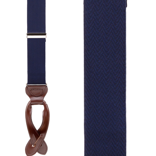 Navy Blue Herringbone Silk Suspenders - Button - Front View