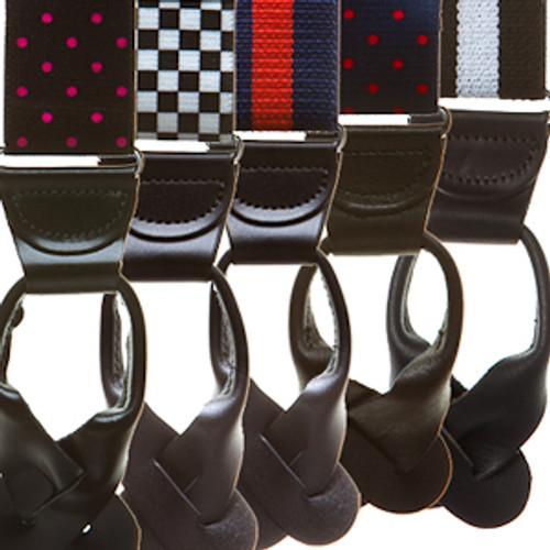 1.5 Inch Wide Button Suspenders - Stripes, Dots & Checks