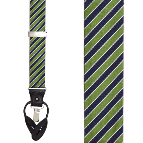 Green & Navy Diagonal Stripe Suspenders - Front View
