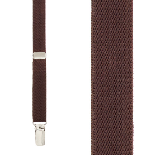 3/4 Inch Wide Thin Suspenders - Matte  BROWN - Front View