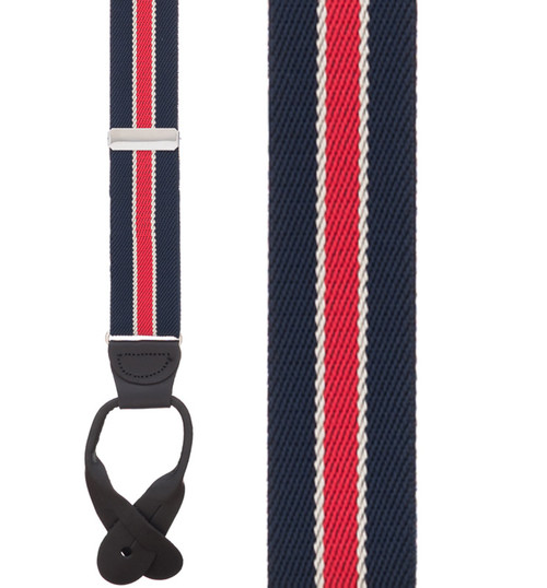 Striped Button Suspenders in Navy/Red - Front View