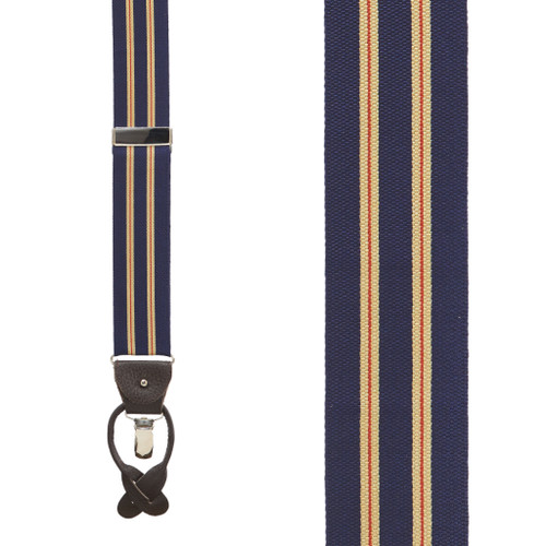 Variable Stripes Barathea Suspenders in Khaki/Navy - Front View