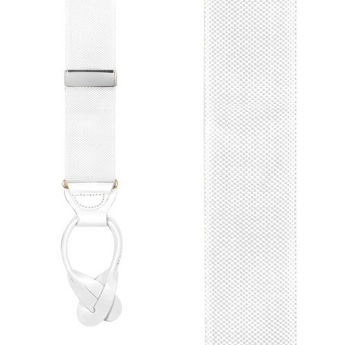 Oxford Cloth Suspenders in White - Front View