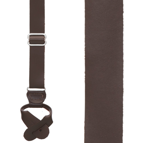 All Leather Button Suspenders in Brown - Front View