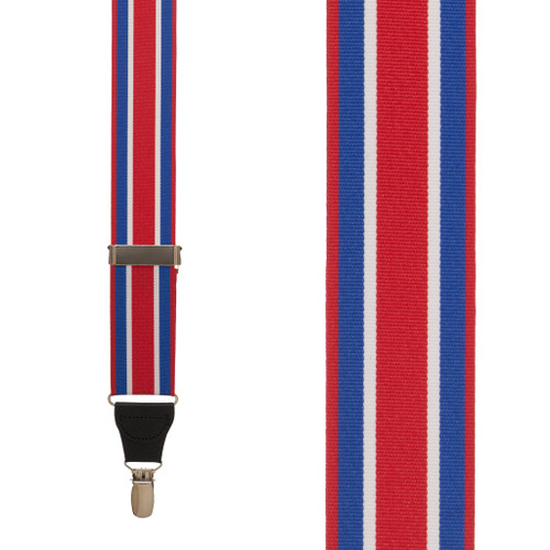 Grosgrain Clip Suspenders - Red White Blue Stripe Front View