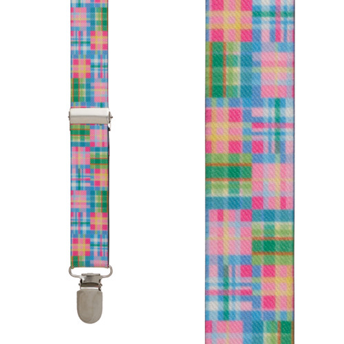 Pink Madras Suspenders - Front View