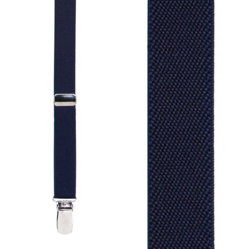 Navy Blue Thin Suspenders - Matte 3/4 Inch Wide - Front View