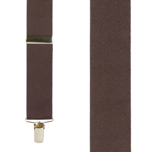 1.5 Inch Wide Brass Clip Suspenders in Brown - Front View