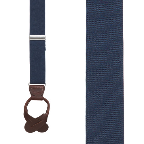 Kids' Suspenders, 1-Inch Wide Button - NAVY BLUE (Brown Leather) - Front View